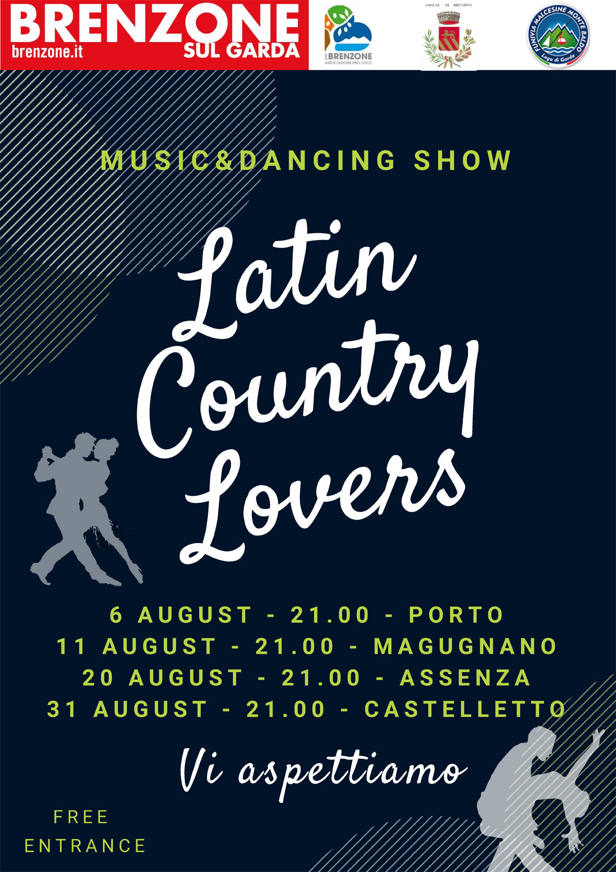 Latin Country Lovers - Music & Dancing Show: 6, 11, 20 and 31 August